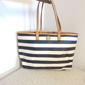 Tory Burch Textured Striped Faux Leather